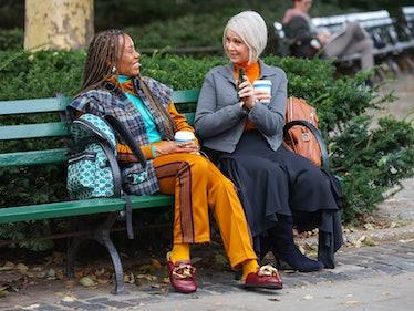 Karen and Cynthia on a park bench