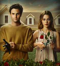 The poster for You: Season 3, with Joe and Love in front of a suburban house, while Love trims a ros...