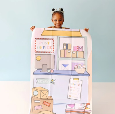 backdrop of a post office for kids to use for pretend play