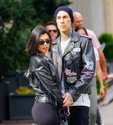 Kourtney Kardashian and Travis Barker in NYC on October 16, 2021.