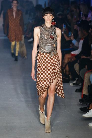 A model walks the runway for Vivienne Westwood Womenswear Spring / Summer 2020