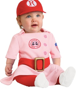 Baby wearing a Rockford Peach costume