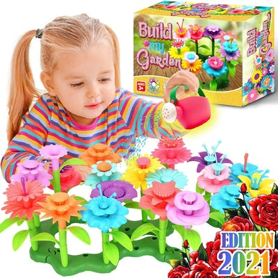 pretend gardening set for kids with fake flowers