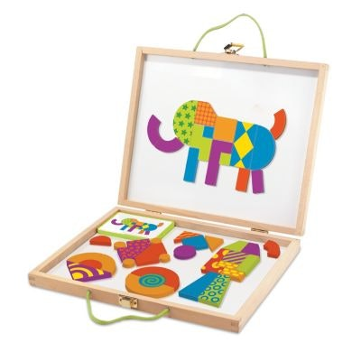 kit for kids with magnetic board and brightly colored shapes to make art
