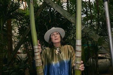 Anjelica Huston in a bamboo forest