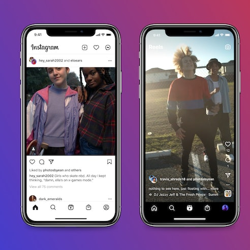 Two phone screens show a Collab post of two people posing, and a Collab Reel of two people dancing.
