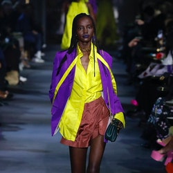 A model walks the runway during the Valentino fashion show during Paris Women's Fashion Week Spring/...