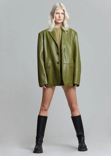 green leather blazer