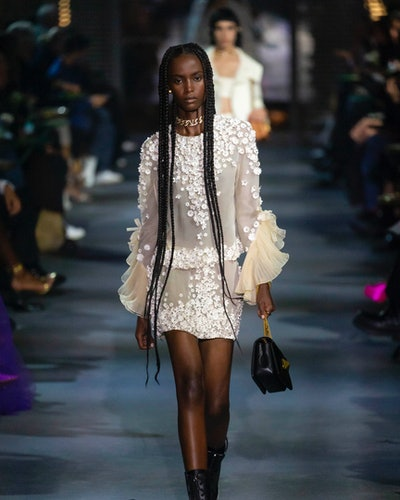Model walks in Valentino's Spring/Summer 2022 collection.