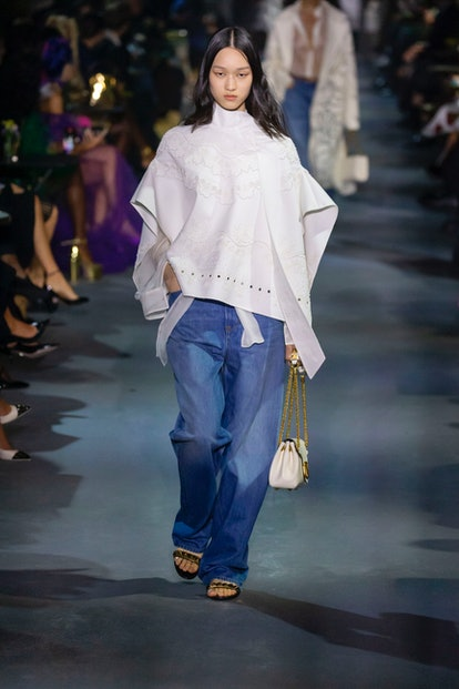A model walks the runway during the Valentino Ready to Wear Spring/Summer 2022 fashion show as part ...