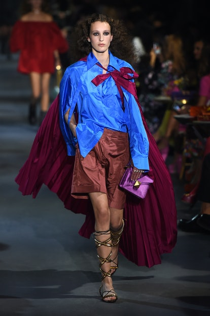 A model walks the runway during the Valentino Womenswear Spring/Summer 2022 show as part of Paris Fa...