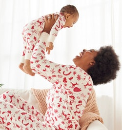 Baby and Mom in Scandicane Hanna Andersson Christmas pajamas