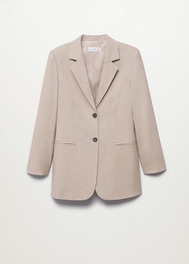 Beige patterned suit blazer from Mango.