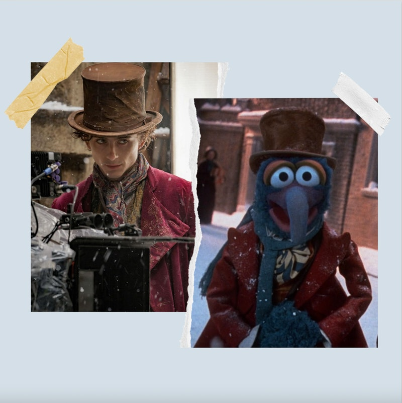 Timothée Chalamet in Wonka and Gonzo from The Muppet Christmas Carol