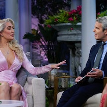Erika Jayne and Andy Cohen at 'The Real Housewives of Beverly Hills' Season 11 reunion.