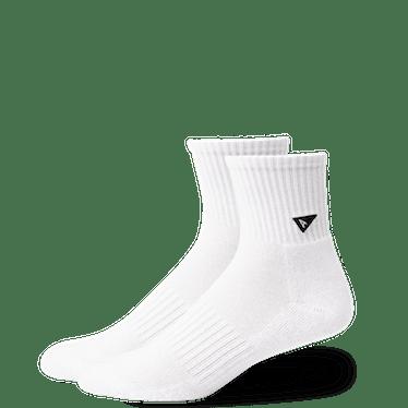 White upcycled mini crew socks from Arvin Goods.