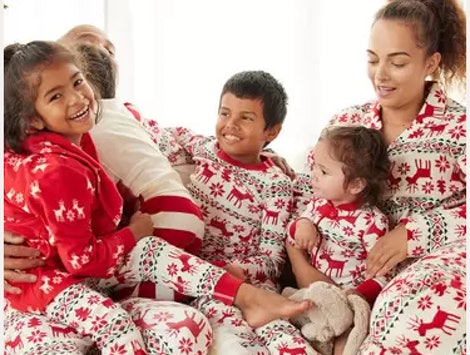 family in matching hanna andersson pajamas