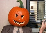 Dwight Schrute talks to the camera with a pumpkin on his head, creating an iconic caption from 'The ...
