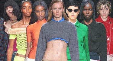 From left: Looks from Saint Laurent, Blumarine, Coperni, Miu Miu, Christian Dior, Prada, and Simone ...