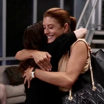 Caterina Scorsone as Amelia Shepherd and Kate Walsh as Addison Montgomery reuniting in 'Grey's Anato...