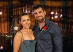 Katie Thurston and Blake Moynes pose for a photo after getting engaged on ABC's The Bachelorette.