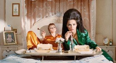 From Left: Bottega Veneta jumpsuit. Hillier Bartley blazer and pants; Julie Vos necklace. Beauty not...