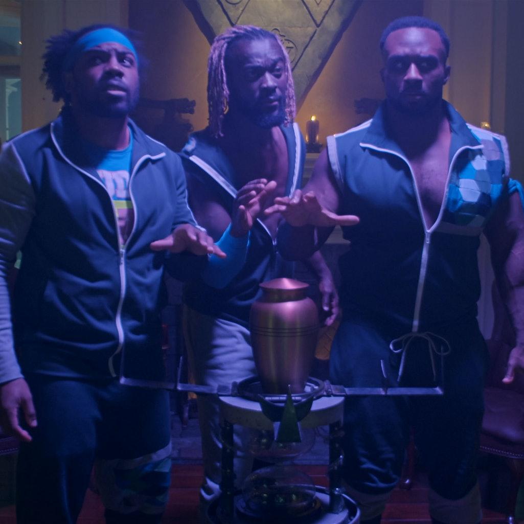(L-R) Big E, Xavier Woods, and Kofi Kingston in 'Escape The Undertaker'. Photo courtesy of Netflix.