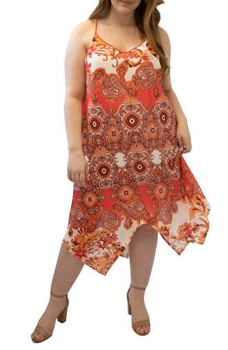 Paisley Handkerchief Hem Midi Dress