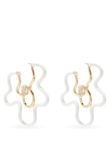 Flower Power 9kt Gold & Crystal Hoop Earrings