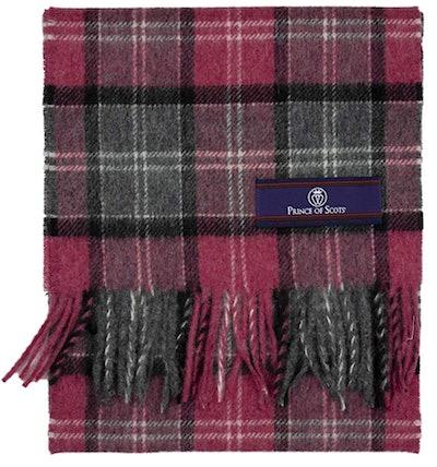 Plaid Fringed Merino Wool Scarf