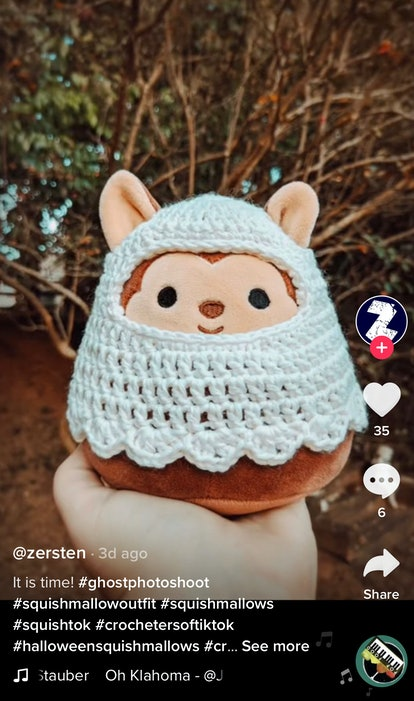 A person shows off the ghost costume they made, which would make a great Squishmallow Halloween cost...