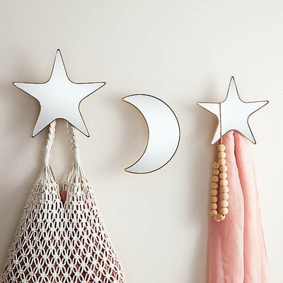 Pack of 3 Star & Moon Mirrored Wall Hooks