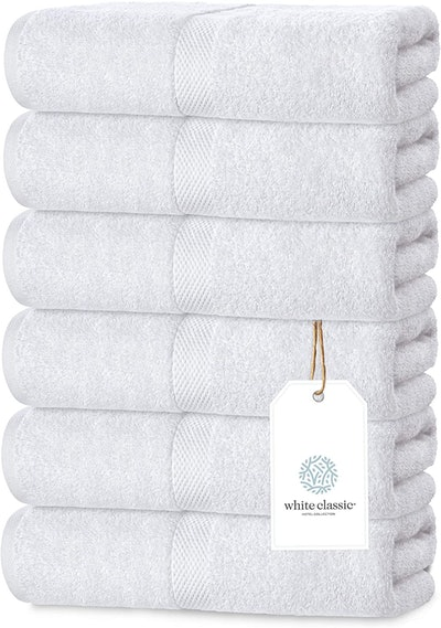 White Classic Luxury White Hand Towels (6-Pack)