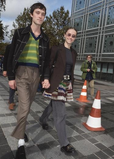 Ella Emhoff and Samuel Hines at Paris Fashion Week spring 2022.