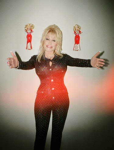 Dolly Parton wears a Chanel jumpsuit; Chopard earrings, necklace, and rings; Tiffany & Co. bracelet.