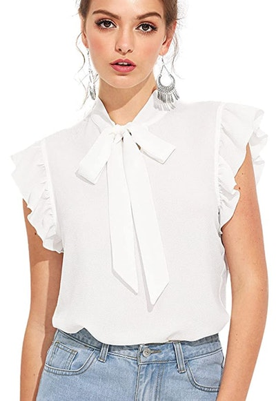 Casual Short Sleeve Ruffle Trim Bow Tie Blouse