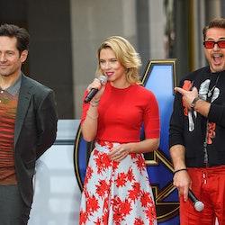 Paul Rudd (Antman), Scarlett Johansson (Black Widow), and Robert Downey Jr. (Iron Man) in 2019.