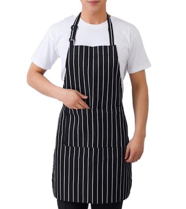 Love wears a pinstripe apron on 'You.'