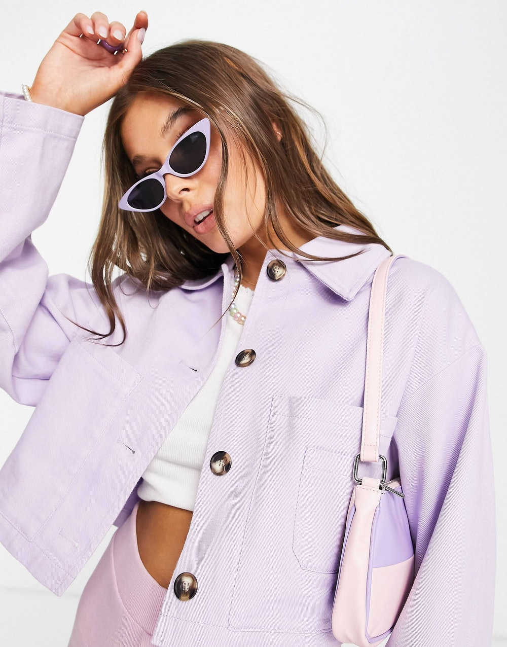 Cropped Shacket in lilac