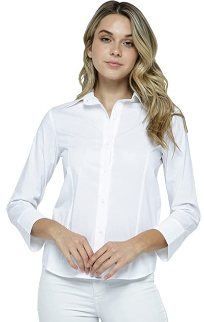 Women's 3/4 Sleeve Premium Cotton Stretchy Button Down