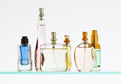 Perfume bottles on shelf