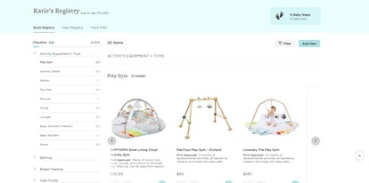 view of monica + andy's new baby registry interface from the registrant's side