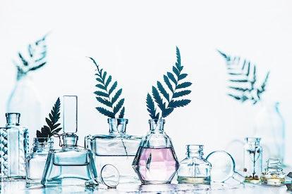 Fragrance bottles with leaves