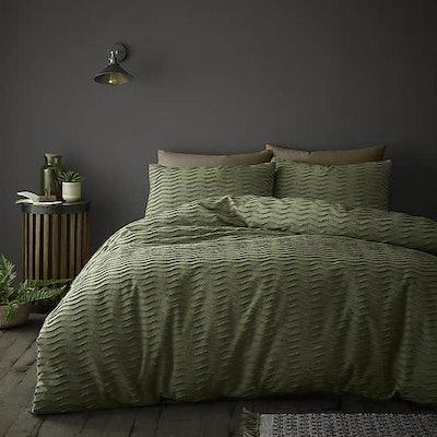 Arlo Olive 100% Cotton Duvet Cover & Pillowcase Set
