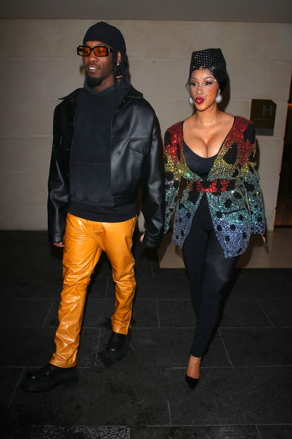 Cardi B and Offset arriving at a restaurant, Paris Fashion Week, France - 02 Oct 2021