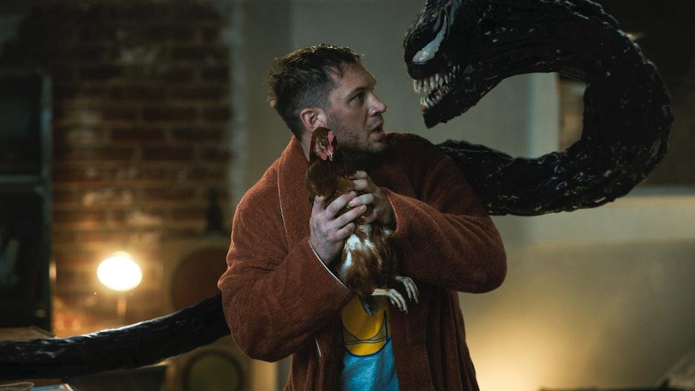 Eddie holds Venom's pet chicken, threatening Venom to stop asking about eating brains.