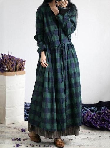 Floor length plaid dress