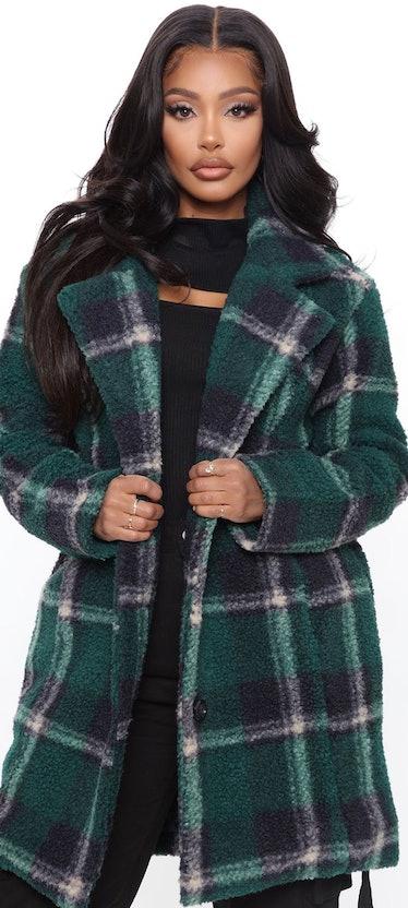 Long green plaid coat
