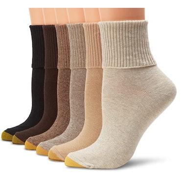 Gold Toe Women's Classic Turn Cuff Socks (6-Pack)