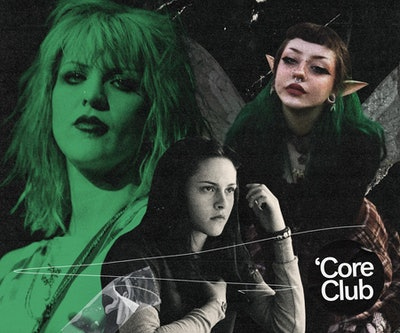 Grunge fairycore inspired by Courtney Love, 'Twilight,' and fairies.